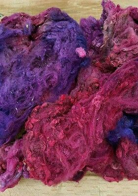 Fleece Corriedale/english leciester Hand Dyed spin felt card 205gms Free Postage