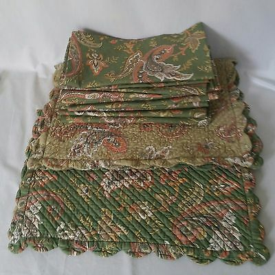 WILLIAMS SONOMA 13 NAPKINS 2 PLACEMATS SET Paisley Boutis Autumn Fall Quilted