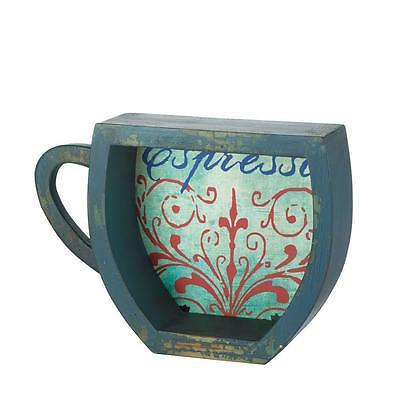 Weathed Blue Coffee Cup Look Shelf Cupboard Bathroom Storage Kitchen Graphic