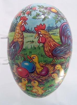 Vintage Comical Paper Mache Easter Egg Candy Container Box ~ Roosters Ducks DRG