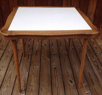 """Vintage """"STAKMORE"""" Vinyl Top WOOD FOLDING CARD TABLE (See matching chairs)"""