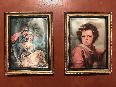Stunning Antique/vintage Pair Old Miniature Picture x2 On Silk Barocco/rococo