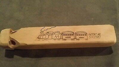 Vintage Wooden Train Whistle Patent #D263383  Great Condition