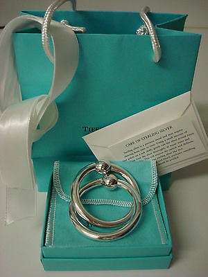 TIFFANY sterling silver ~ NEW IN BOX ~ BABY DOUBLE RATTLE pouch,cards,bag,ribbon