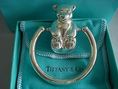 TIFFANY sterling silver ~NEW IN BOX~ BABY RATTLE ~ TEDDY BEAR ~ box,pouch,bag