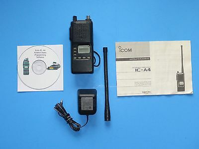 Icom A4 Aviation radio w/ charger, software, charger, antenna, battery NICE