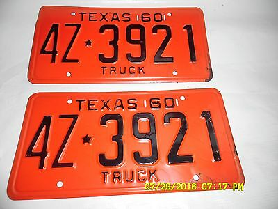 1960  Texas  Replacement  Truck   License Plates      4Z3921