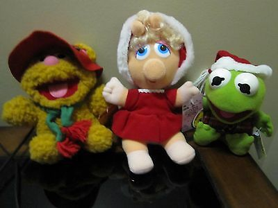 "McDonald's Baby Muppets Lot Of 3 Plush Miss Piggy Kermit & Fozzie 8"" Has Tags 19"