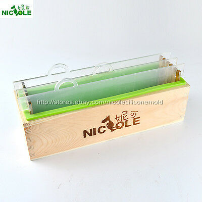 Loaf Silicone Soap Mold Wooden Box Vertical Rendering Separator DIY Tools 1000ML