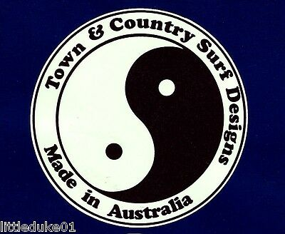 """""""TOWN & COUNTRY SURFBOARDS"""" VINTAGE RETRO Sticker Decal 1970s LONGBOARD SURFER"""