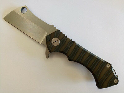 B005131FullSize Big Rad D2 Cleaver Titanium Handle Flipper Butcher Folding Knife
