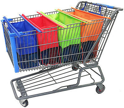 Set of 4 Bags Reusable Grocery Cart Shopping Trolley Bags Shopping Carrier Bag
