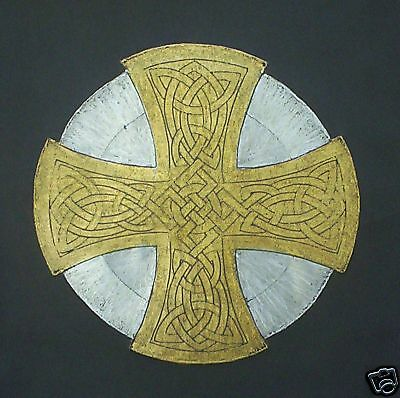 GOLD & SILVER CELTIC CROSS, Hand crafted Brass Rubbing ready for framing