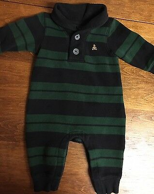 Baby Boys Gap Bear Striped One Piece Collared Outfit Size 3-6 Months