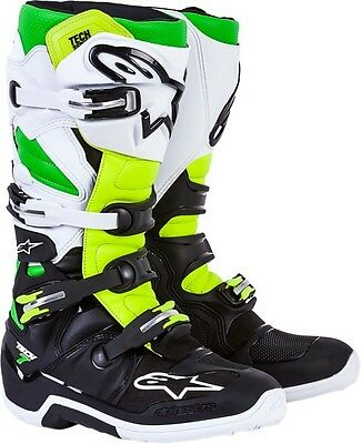 Alpinestars Tech 7 Limited Edition Vegas Black / Green MX Riding Boots Size 11