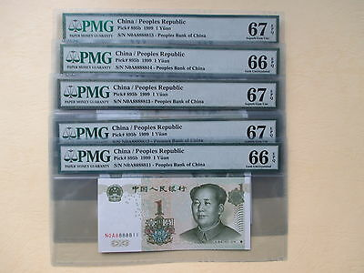 china  1999 P # 895UNL 1 Yuan 8888811-15 ,5 pcs  Set PMG 66.67 Superb GEM UNC