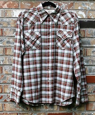 Vtg 1960s Big Mac Pearl Snap Shirt Plaid Size Lg