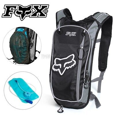2L FOX Black Hydration Water Backpack Bag Pack Hiking Camping Cycling Bladder