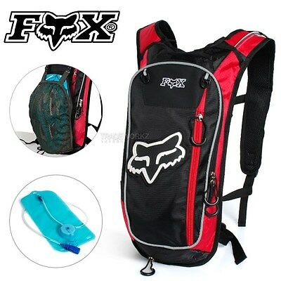 2L FOX Red Hydration Water Backpack Bag Pack Hiking Camping Cycling Bike Bladder