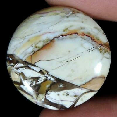26.95Cts NATURAL BRECCIATED MOOKAITE JASPER ROUND CABOCHON AFRICAN TOP GEMSTONES