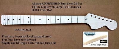 New Allparts UPGRADED UNFINISHED Stratocaster Strat Maple Neck BIG HEADSTOCK
