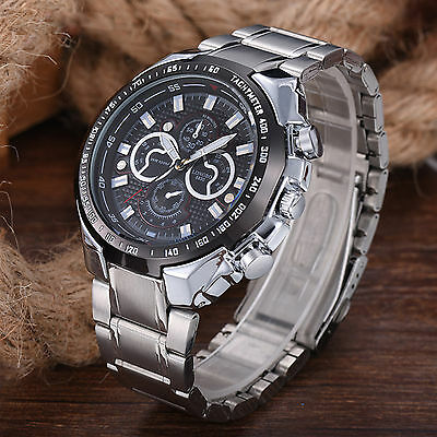 Men's Fashion Luxury Watch Stainless Steel Waterproof Quartz Sport Wristwatches