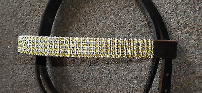 "Gold Blingy Browband, Full Size 16""  Brown Leather,  **new** Bling"