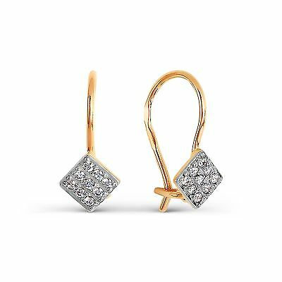 585/14ct Russian Rose Gold CZ Hook Earrings Gift Boxed