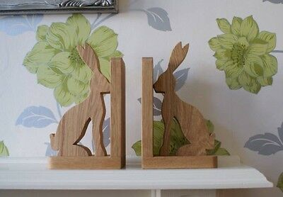 Solid Oak Hare Bookends * Handmade in Yorkshire *