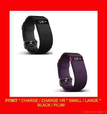 Fitbit - Charge & Charge Hr - Heart Rate Activity Tracker - Lg/sm - Black/plum
