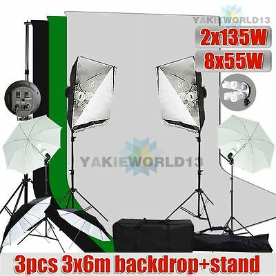 3550W Photo Studio Softbox Umbrella Lighting 3pcs 3x6m Muslin Backdrop Stand Kit