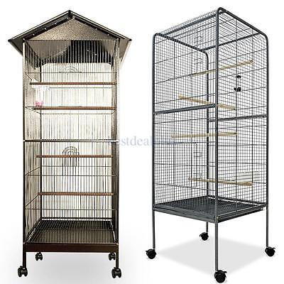 Metal Bird Cage Aviary Parrot Budgie Canary Cockatiel Solid Robust Design 2 Size