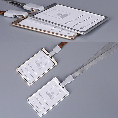 Aluminum Alloy Business Work Card ID Badge And Adjustable Lanyard Holders