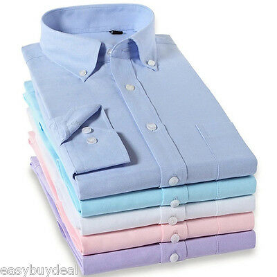 New Men's Plain Oxford Slim Fit Shirt Formal Business Dress Long Sleeve Shirt