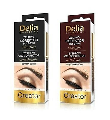 Delia Cosmetics Eyebrow Gel Corrector Eyebrow Creator with Keratin Brown & Black