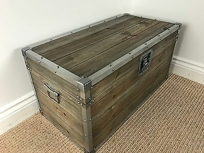 Compact Industrial / Vintage Style Wooden Trunk FULLY ASSEMBLED STORAGE CHEST