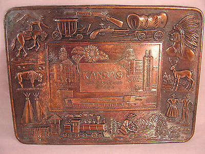 Vintage Copper Kansas w/ Embossed Pattern Jewelry Tray Made in Japan