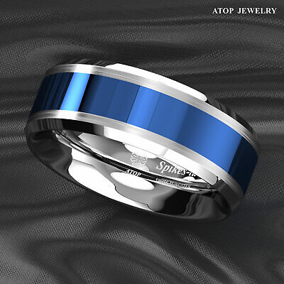 8MM Tungsten Carbide Ring Blue Center silver Brushed Edge Band Ring Mens Jewelry