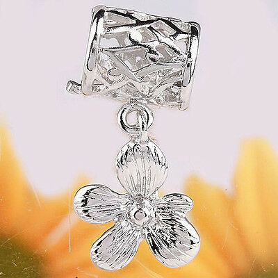 10pcs Flower Decorated Pendant Pinch Bail Connector Charms Silver Tone Crafts