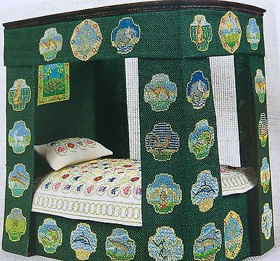 Hand Embroidered  Scrolling Steam Bedcover 1:12 for the Tudor&Stuart Dolls House