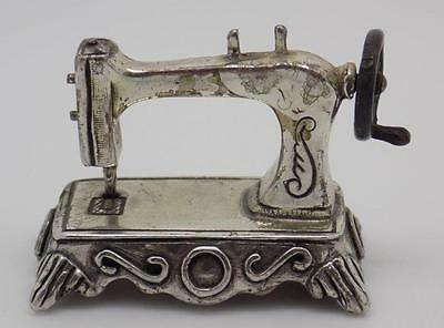 Vintage Solid Silver Sewing Machine Miniature - Stamped - Made in Italy