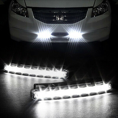 12V 8 LED Daytime Running Lights DRL Car Fog Day Driving Universal White Lamp AU