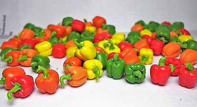 1:12th  Pack Of 8 Mixed Bell Peppers Doll house Miniatures Vegetables