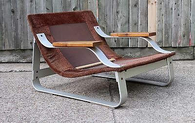 MID CENTURY STEEL CHROME ARMCHAIR RETRO VINTAGE DANISH CHAIR ERA 50s 60s 70s
