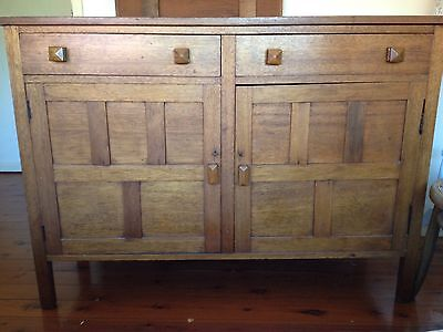 Antique Cupboard Sideboard Wooden Oak Australian Vintage Furniture Sideboard
