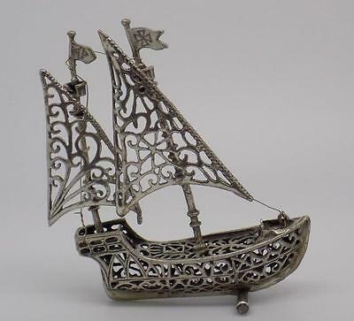 53g! Vintage Solid Silver Sailing Ship Miniature - Stamped - Made in Italy