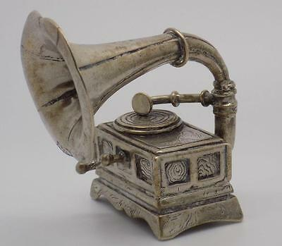 117g! BIG Vintage Solid Silver Gramophone Miniature - Stamped - Made in Italy