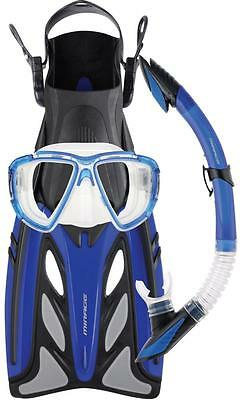 CRYSTAL - Gold  Snorkelling Googles Snorkel & Flipper Set - Spearfishing Holiday