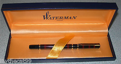 Vintage Waterman Paris Black Red Lacquer Marble Rollerball Pen