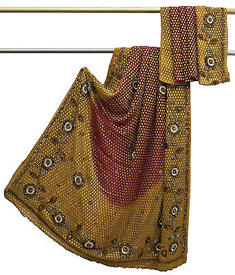 Vintage Indian Saree Georgette Hand-Beaded Red Craft Deco Used Fabric Sari 5YD